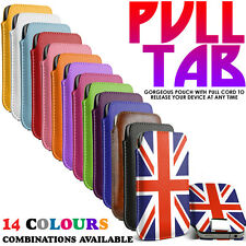 Pull Tab Slide In Flip Design Soft Skin PU Leather Case Cover Pouch Sleeve
