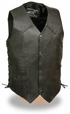 Mens Classic Black Side Lace Leather 4 Snap Front Biker Vest - Motorcycle Riders
