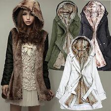 2016 Women Winter Warm Thicken Fleece Hooded Faux Fur Overcoat Coat Jacket Parka