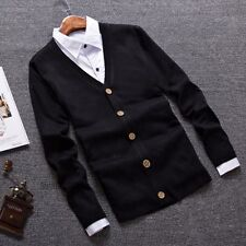 Mens Thin Slim Fit Cardigan Jumper Sweater Plain Preppy V Neck Button Casual New