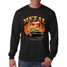 Ford Mustang Metal American Motor Company Classic Auto Long Sleeve T-Shirt Tee