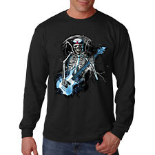 Blue Skeleton Rock Music Guitar Solo Skull Long Sleeve T-Shirt Tee