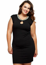 Women's Plus Size Elegant Black Stretch Dress w/ Beaded Neckline 1X 2X 3X NWT