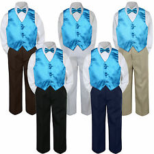 4pc Boys Baby Toddler Kids Turquoise Vest Bow Tie Formal Set Suit S-7