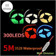 5M 3528 SMD White Waterproof Flexible 300 LED Light Xmas + Dimmer+ Power Adapter