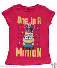 "GIRL'S CERISE MINION'S ""ONE IN A MINION"" SHORT SLEEVE T SHIRT/TOP 2-10 YEARS"