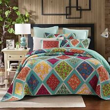 Dada Bedding Blue Floral Bohemian Fairy Diamond Patchwork Quilted Bedspread Set