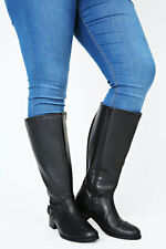 Black Knee High Leather Riding Boots With Buckle Trim & XL Calf Fit...