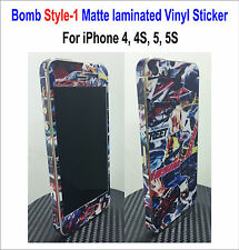 Bomb Matte laminated Vinyl Decal Skin Sticker Style-1 - For iPhone 4, 4S, 5, 5S