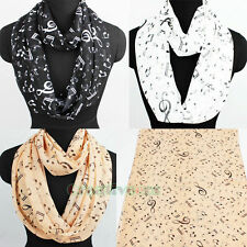 Womens Fashion Scarves Musical Note Print Ladies Soft Chiffon Infinity Scarf New