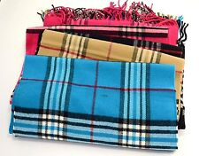 "Check Plaid Unisex 100% CASHMERE Warm wrap Scarf Wool SCOTLAND 72""long*12""wide"