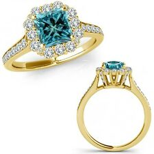 1.40 Carat Blue Square Princess Diamond Fancy Cluster Halo Ring 14K Yellow Gold