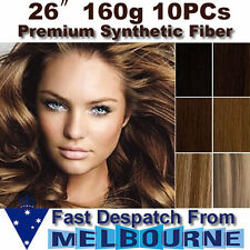 "26"" Clip in REMY Hair Extensions Full Head 160g Black Brown Blonde 26inch thick"