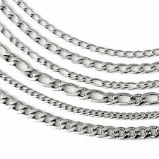 Necklace Stainless Steel Curb Chain Necklace Figaro chain 6 Models silver shiny