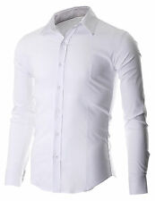 FLATSEVEN MENS SLIM FIT CASUAL BUTTON DOWN DRESS SHIRTS LONG SLEEVE (FSH600WH)