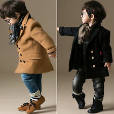 New Child Kids Boys Wool Blend Double Breasted Trench Duffle Coat Jacket Outwear