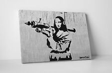 Banksy Mona Lisa With Bazooka Steel Version Stretched Canvas Print. BONUS DECAL!