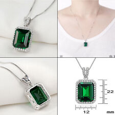 """5.30 Ct Green Emerald Sapphire 925 Sterling Silver Pendant 18"""" Chain Necklace"""