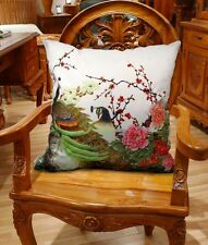 High-end square velvet fabric pillow cushion cover parrot design on both sides