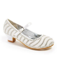 New Girls Dressy Shoes Pearl Wedding/Mary Jane/Rhinestone/Sz 10 Toddler- 5 Youth