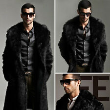 Winter Men Luxury Black Faux Fur Coat Outerwear Warm Long Jacket Overcoat Parka
