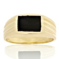 New Solid 14K Yellow Gold Square Black Onyx Ring (Available in Sizes 7 - 13)