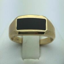 New 14K Yellow Gold Men's Rectangle Black Onyx Ring Available in Sizes 7-13