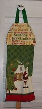 Christmas Words Gingerbread House Santa Tree Hanging Kitchen Dishtowel HCF&D