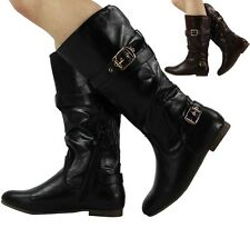 WOMENS LADIES BUCKLE MID CALF FLAT FAUX LEATHER LOW HEEL PIXIE BOOTS SHOES SIZE