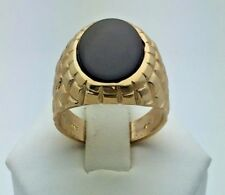 New Men's Solid 14K Yellow Gold Oval Black Onyx Ring (Available in Sizes 7-13)