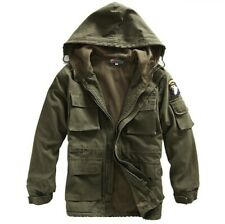 Mens Military Thicken Winter Hooded Fleece Lined Jacket Coat Overcoats Army Size