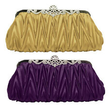 Fad Clutch Party Wedding Purse Pleated Soft Evening Handbag Rhinestones Satin US