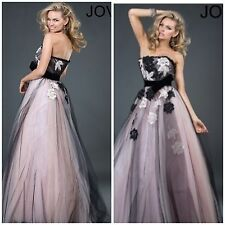 NWT JOVANI 171240 long strapless gown features beautiful floral appliqué $748