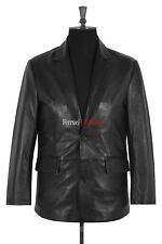 Rocco Black Men's New Smart Formal Casual Soft Real Sheep Leather Blazer Jacket
