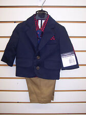 Infant Boys Nautica $84 Navy & Red 4pc Suit Size 0/3 Months
