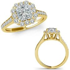 1.40 Carat G-H Square Princess Diamond Fancy Cluster Halo Ring 14K Yellow Gold