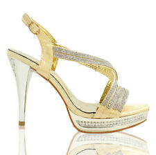 GIRLS WOMENS PARTY GOLD BRIDAL DIAMANTE EVENING HIGH HEELS SHOES SANDALS SIZE