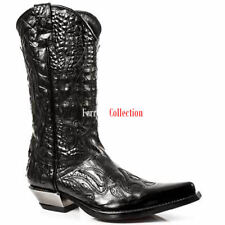 Newrock Ladies 7921-S1 New Rock Leather WEST Black Red Cowboy Leather Boots