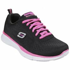 Skechers EQUALIZER TRUE FORM Ladies Womens Lace Up Gym Trainers Black/Hot Pink