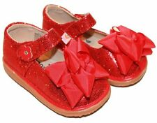 MOOSHU Trainers Squeeker Shoes NEW Red Sparkle Sz 3-9 Mary Jane Valentine's Day