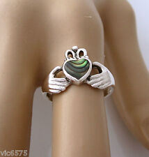 925 Sterling Silver Abalone Shell IRISH CLADDAGH Heart Love Wedding Promise ring