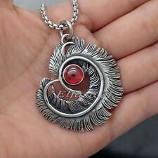 Men's Women's Ruby Red CZ Feather 316L Stainless Steel Pendant Necklace