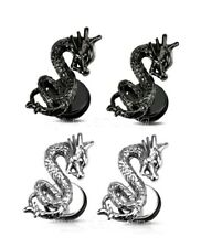 PAIR 16g-1.2mm Shaft Fake Plug Surgical Steel and Black Dragon Ear Cheater Plugs