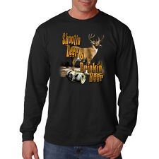 Shooting Deer & Drinking Beer Hunting Buck Funny Long Sleeve T-Shirt Tee