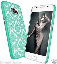 Transparent Vintage Damask Teale Hard Cover Shell Case For Samsung Galaxy S6