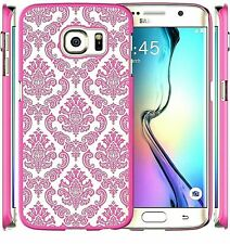 Transparent Vintage Damask  Pattern Pink Case Cover For Samsung Galaxy S6 Edge