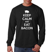 Keep Calm & Eat Bacon Pork Pig Breakfast Funny Humor Long Sleeve T-Shirt Tee