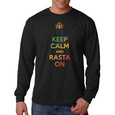 Keep Calm & Rasta On Reggae Jamaica Music Funny Long Sleeve T-Shirt Tee