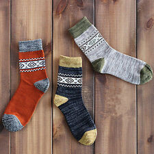 3Pairs Lot Men's Vintage Color-block Comfort Cotton Fashion Casual pattern Socks