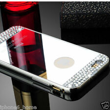 "Diamond Crystal Silver Mirror Case + Metal Bumper For iPhone 6/6s PLUS (5.5"")"